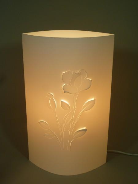 Wunderschöne Tischleuchte mit Blumenmotiv Rose Tischlampe Dekoleuchte