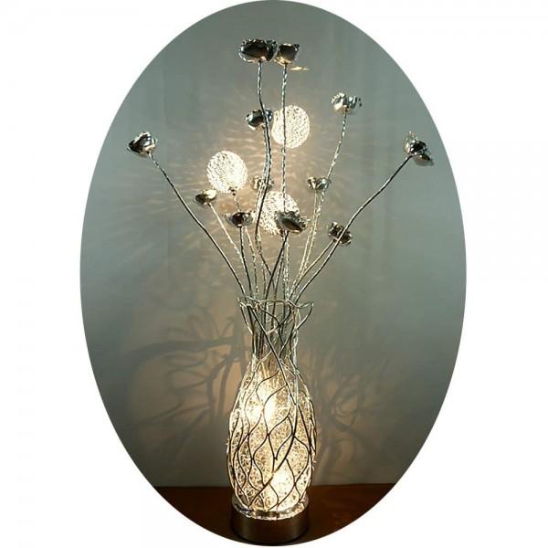 Stehleuchte COSMEA 5-flammig aus Alu-Drahtgeflecht Blumenleuchte Dekoleuchte