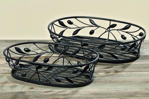 Korb Toscana Eisen lackiert grau