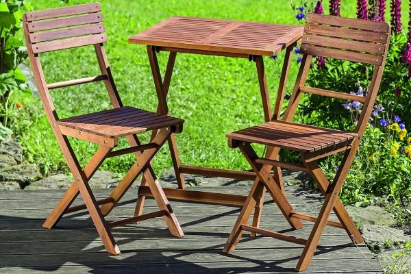 Lounge Set REMO 1xTisch+2xStühle Gartenmöbel Holz