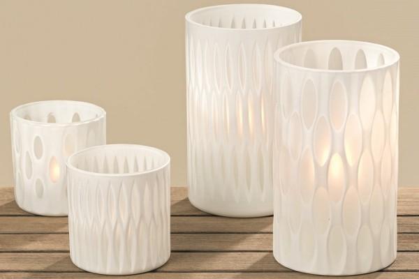Vase Malos sortiert H20cm D12cm Glas weiss
