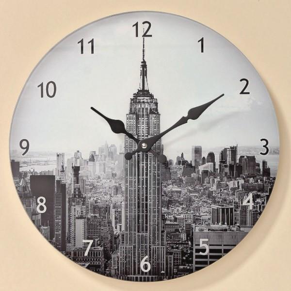 Wand Uhr Mason Glas klar grau D34cm