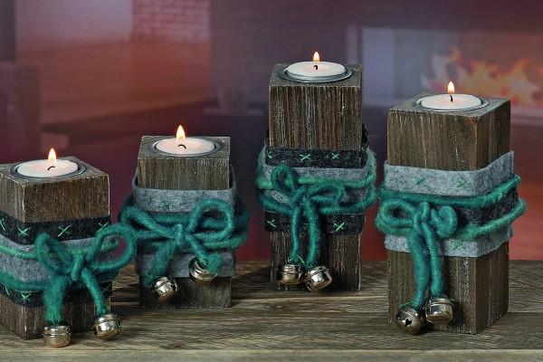 2 x Teelichthalter Mena aus Holz mit Filzband und Dekoglöckchen Kerzenhalter