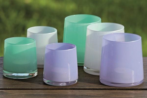 3 x dekorative Glas Windlichter AVILA Teelichthalter aus Glas