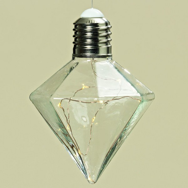 LED Hänger Birne Metall/Glas klar