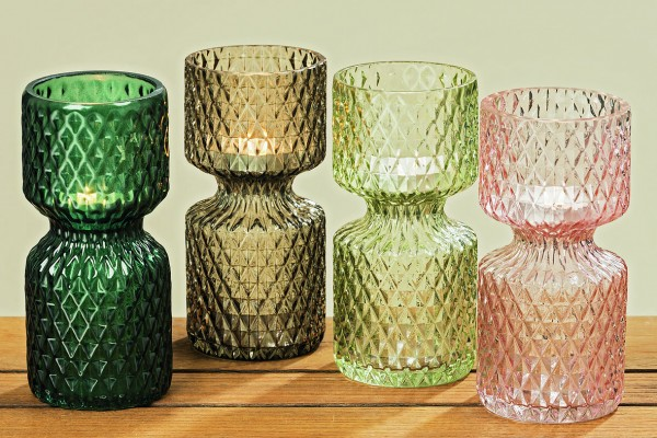4 x Windlichter Lord im Set Glas Teelichthalter Farbmix Retro Kerzenhalter
