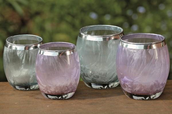 2x Glas-Windlichter Rubi Teelicht-Kerzen-Halter