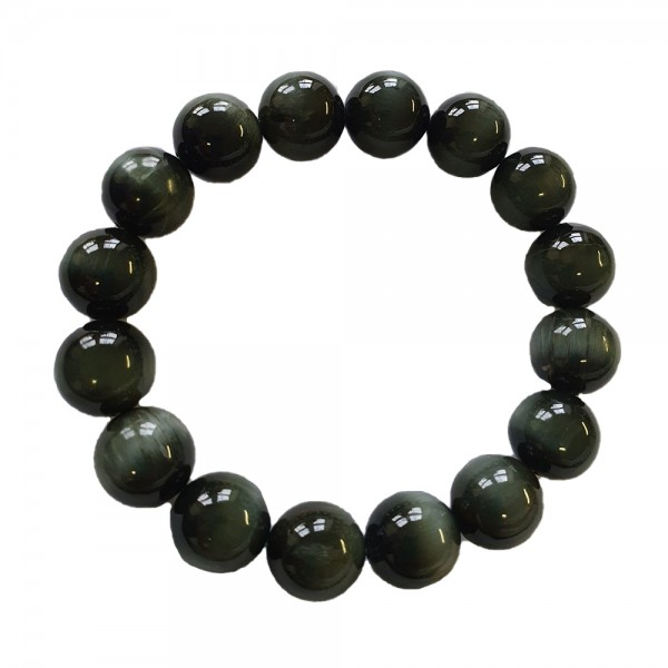 Armband aus Tigerauge grün Kugelarmband Naturstein Armreif