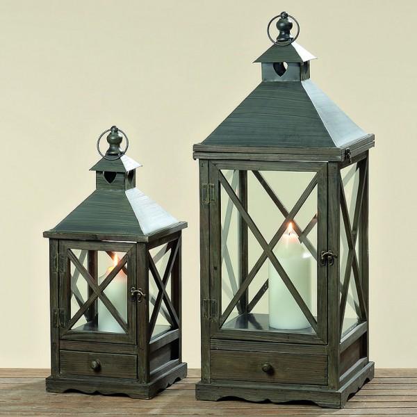 Laterne Anni 53 cm Holz braun, Glas