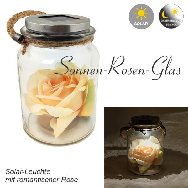 LED-Solar-Außen-Tisch-Leuchte-Lampe SONNEN-ROSEN-GLAS mit Stoffrose