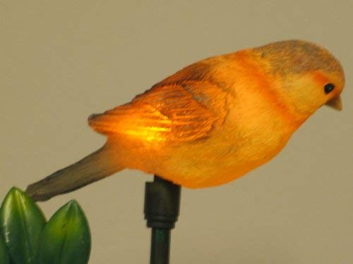Solar Gartenstecker Vogel orange/rost 2er Set