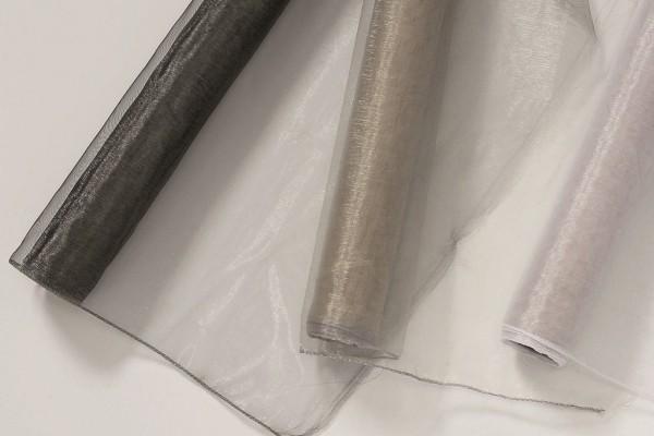 Dekostoff Organza 3s. Polyester grau-silber-anthrazit