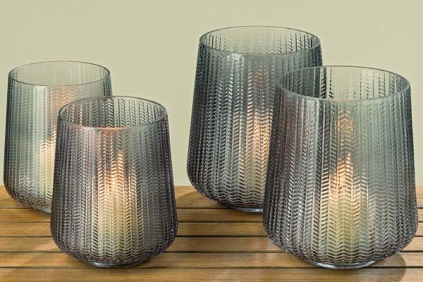 Windlicht Talamo 2er Glas lackiert grau