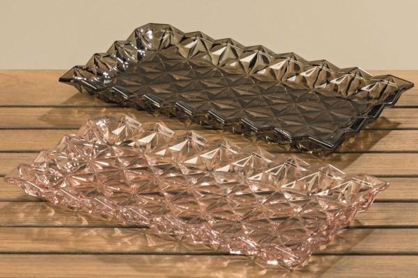 2 x Glas-Dekorations-Tablett-Platte AVILA Servier-Teller