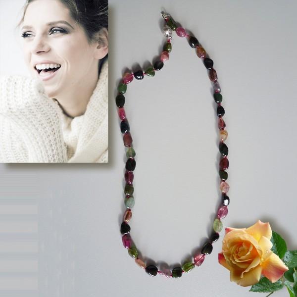 Hochwertige Turmalin-Halskette 50cm Multicolor Naturstein-Schmuck