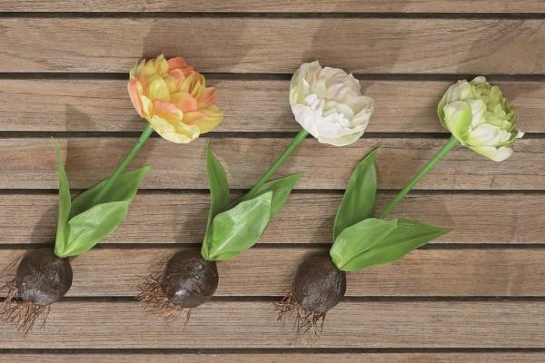 3 x Kunstblume Tulpe mit Blumenzwiebel Osterdekoration