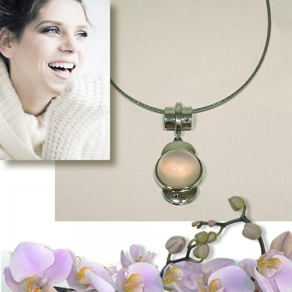 Hochwertiger Edelstein Anhänger mit Rosenquarz und Silberkette