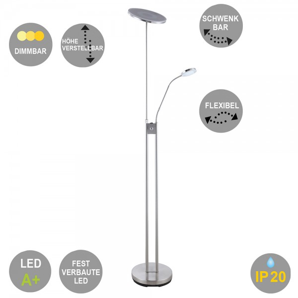 LED-Stehleuchte Livio Deckenfluter mit Lesearm und Dimmfunktion