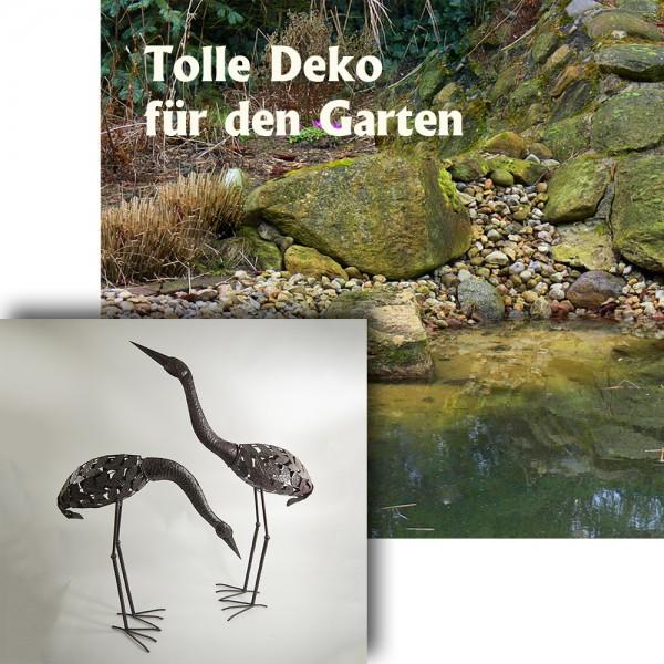 2 x Gartenfiguren Gartendeko Kraniche aus Metall