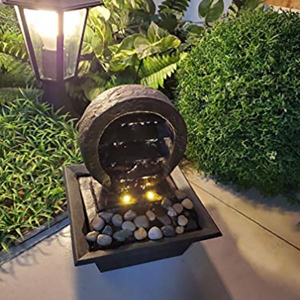 Zimmerbrunnen ZEN Tisch-Spring-Brunnen mit LED Beleuchtung Raumbefeuchter