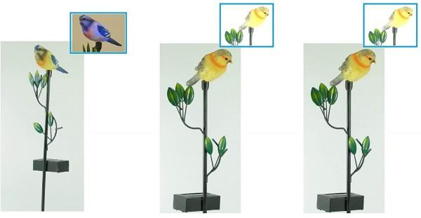 3 x Solar Gartenstecker VOGEL im Set Dekolampe