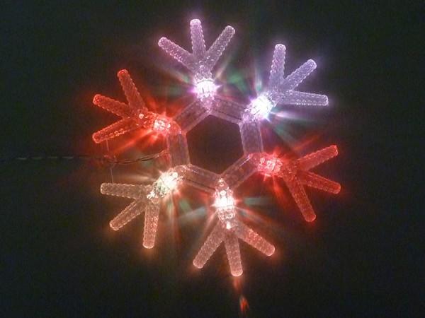 Schneeflocke 6 LED farbwechselnd Batteriebetriebend Fensterbeleuchtung Innendekoration