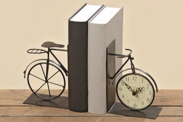 Buchstütze mit Uhr Fahrrad-Design 2 teilig