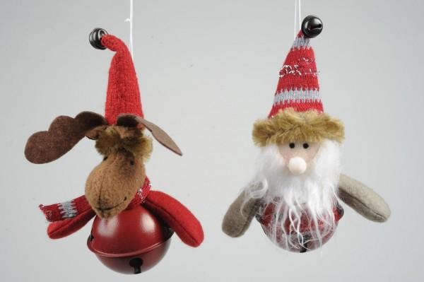 2 x Deko-Weihnachtshänger Filz-Figuren a Glocke Elch+ Nickolaus Baum-Fensterdeko