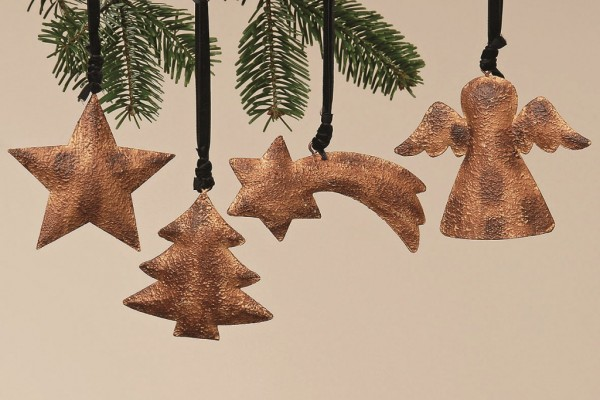 4 x Weihnachtsanhänger Metall Baum-Hänger Fensterdekoration