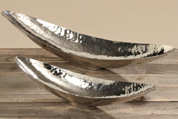 Deko Schale Gisa Gondola 2er L48-65cm Alu silber