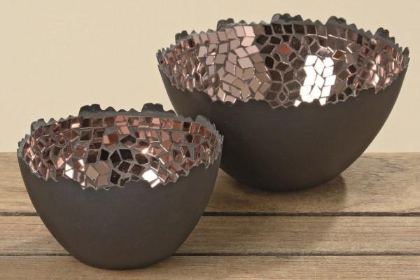 2 x Edle Windlichter JuURI im Set aus Metall schwarz mit Mosaik Kupfer