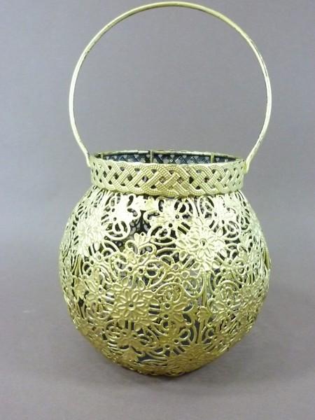 Orientalisches Windlicht Metall mit Bügel Laterne goldfarbig Teelichthalter