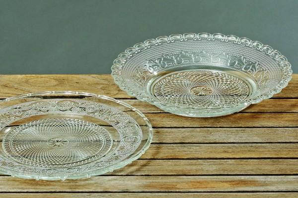 2 x Platzteller Roya Glas-Deko-Teller Servierteller