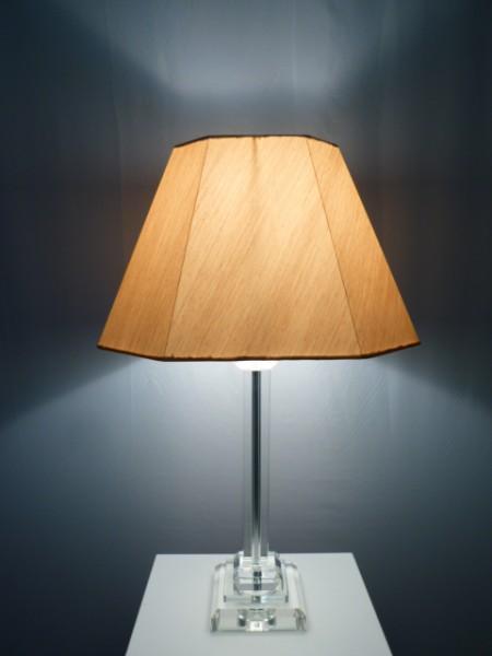 Tischleuchte mit Kristallfuß und Seiden-Stoffschirm BENCE Kristallleuchte Tischlampe